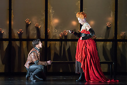 © Licensed to London News Pictures. 30/09/2013. Welsh National Opera present Roberto Devereux by Gaetano Donizetti, from their Tudor Season at the Millennium Centre, Cardiff. Picture shows Leonardo Capalbo (Robert, Earl of Essex) & Alexandra Deshorties (Elizabeth I). Photo credit: Tony Nandi/LNP.