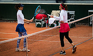 Tsvetana Pironkova of Bulgaria and Andrea Petkovic of Germany at the net during the first round at the Roland Garros 2020, Grand Slam tennis tournament, on September 28, 2020 at Roland Garros stadium in Paris, France - Photo Rob Prange / Spain ProSportsImages / DPPI / ProSportsImages / DPPI