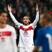 Turkey's Mehmet Topal during their a international friendly soccer match Turkey betwen Slovakia at Ataturk stadium in Bursa February 29, 2012. Photo by TURKPIX