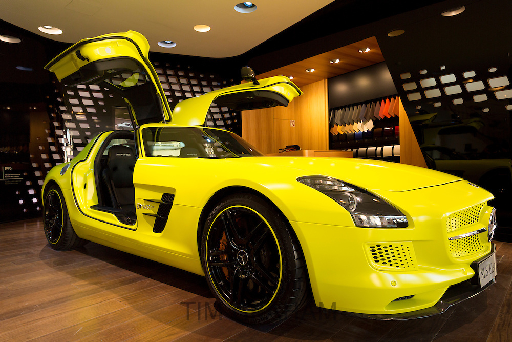 AMG SLS Coupe Electric Drive gullwing motor car on display at AMG Mercedes showroom in Odeonsplatz,Munich, Bavaria, Germany
