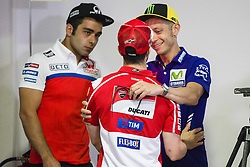 June 8, 2017 - Barcelona, Spain - MotoGP, Valentino Rossi(Ita), Movistar Yamaha Motogp Team, Danilo Petrucci(Ita), Octo Pramac Racing Team and MotoGP, Andrea Dovizioso(Ita), Ducati Team during the press conference of MotoGp Grand Prix Monster Energy of Catalunya, in Barcelona-Catalunya Circuit, Barcelona on 8th June 2017 in Barcelona, Spain. (Credit Image: © Urbanandsport/NurPhoto via ZUMA Press)