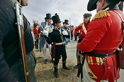 11 January 2015. New Orleans, Louisiana. <br /> Bicentennial reenactment of the Battle of New Orleans in Chalmette. <br /> British troops prepare to re-enact their January 8th, 1815 disastrous battle against American foes marking the 200th anniversary of the Battle of New Orleans in Chalmette. Despite heavily outnumbering the Americans, the British suffered over 2,000 casualties, with many senior officers amongst the dead and injured compared to the Americans who suffered a mere 70 by comparison. The American victory was hailed as miracle.<br /> Photo; Charlie Varley/varleypix.com