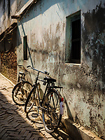 Varanasi, INDIA - CIRCA NOVEMBER 2018: Street image from a fishing village close to Varanasi. Varanasi is the spiritual capital of India, the holiest of the seven sacred cities and with that many rituals and offerings are performed daily by priests and hindus.