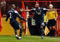 Photo: Daniel Hambury.<br />Charlton Athletic v Manchester City. Barclays Premiership.<br />04/12/2005.<br />City's Trevor Sinclair celebrates scoring the second goal.