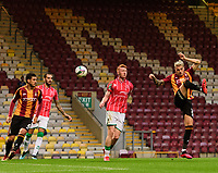 Bradford City's Tyler French scores an own goal to open the scoring for Lincoln City<br /> <br /> Photographer Chris Vaughan/CameraSport<br /> <br /> Carabao Cup Second Round Northern Section - Bradford City v Lincoln City - Tuesday 15th September 2020 - Valley Parade - Bradford<br />  <br /> World Copyright © 2020 CameraSport. All rights reserved. 43 Linden Ave. Countesthorpe. Leicester. England. LE8 5PG - Tel: +44 (0) 116 277 4147 - admin@camerasport.com - www.camerasport.com