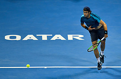 Guido Pella of Argentina serves to  Andrey Rublev of Russia during their semi final  of ATP Qatar Open Tennis match at the Khalifa International Tennis Complex in Doha, capital of Qatar, on January 05, 2018. Andrey Rublev won 2-1  (Credit Image: © Nikku/Xinhua via ZUMA Wire)