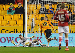 Richard O'Donnell of Bristol City makes a save - Mandatory byline: Dougie Allward/JMP - 08/03/2016 - FOOTBALL - Molineux Stadium - Wolverhampton, England - Wolves v Bristol City - Sky Bet Championship