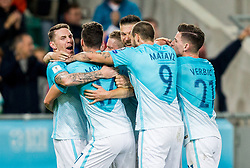 Players of Slovenia celebrate after Roman Bezjak of Slovenia scored second goal for Slovenia during football match between National Teams of Slovenia and Scotland of Fifa 2018 World Cup European qualifiers, on October 8, 2017 in SRC Stozice, Ljubljana, Slovenia. Photo by Vid Ponikvar / Sportida