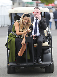 Model Vogue Williams arrives during day three of the Punchestown Festival at Punchestown Racecourse, County Kildare, Ireland.