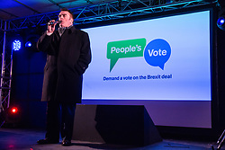 London, UK. 15th January, 2019. Tommy Sheppard, SNP MP for Edinburgh East, addresses pro-EU activists attending a People's Vote rally in Parliament Square as MPs vote in the House of Commons on Prime Minister Theresa May's proposed final Brexit withdrawal agreement.