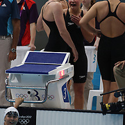 The Australia Women's 4 x 100m Freestyle relay team of Emily Seebohm, Brittany Elmslie, Yolane Kukla and Libby Trickett after qualifying for the final during the swimming heats at the Aquatic Centre at Olympic Park, Stratford during the London 2012 Olympic games. London, UK. 28th July 2012. Photo Tim Clayton