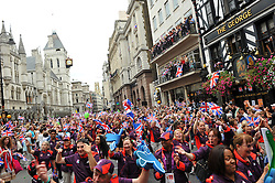 Parade in central London celebrating Team GB athletes who competed in the London 2012 Olympic and Paralympic Games, September 10th 2012. Photo by Chris Joseph/i-Images.