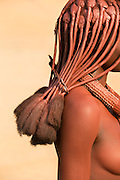 Detail of hair, Woman of the Himba Tribe, Kunene Region, Northern Namibia, Southern Africa