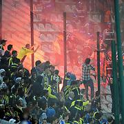 Fenerbahce's Supporters during their Turkish soccer super league match Bursaspor between Fenerbahce at Ataturk Stadium in Bursa Turkey on Saturday, 20 October 2012. Photo by TURKPIX