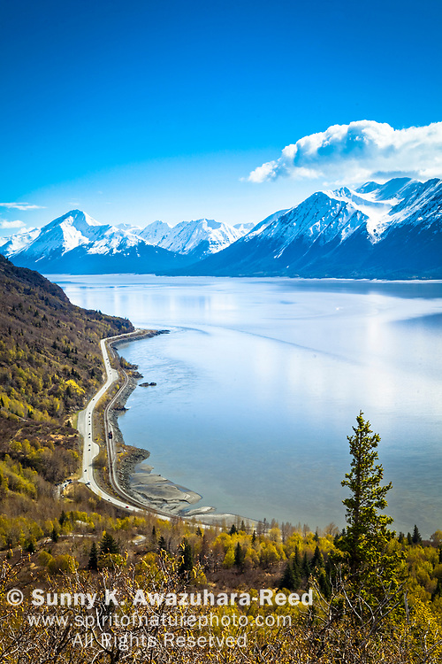 Overlook of snow capped Kenai Mountains and Turnagain Arm of Cook Inlet along Seward Highway. Chugach State Park, Southcentral Alaksa, Spring. Vertical image.