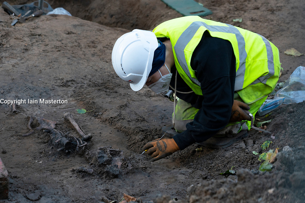 Archeologist working to remove Skeleton on Constitution Street in Leithon route of new Edinburgh Tram construction work, Scotland, Uk