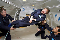Physicist Stephen Hawking experiences a very weight moment during a flight on Zero Gravity jet, near Florida on April 26, 2007. Photo by Zero G via Balkis Press/ABACAPRESS.COM