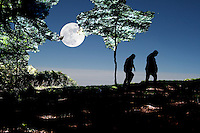 path to heaven, two persons walking in a mountain above the clouds with a great moon in the sky englightening the trees
