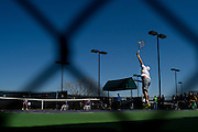 Guido Pella of Argentina serves the ball against Olivier Rochus of Belgium during the Dallas Tennis Classic at the Four Seasons in Las Colinas on Wednesday, March 13, 2013. (Cooper Neill/The Dallas Morning News)