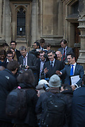 The Brexiteer, Jacob Rees-Mogg MP speaks to reporters outside Parliament to announce that he is sending a letter to the 1922 Committee which may ultimately trigger a vote of no confidence for Prime Minister Theresa May and subsequently, a Tory Party leadership crisis in the midst of failing Brexit negotiations with the EU, on 15th November 2018, in London, England.