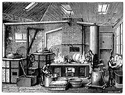 Kitchen of a food cannery.  Wood engraving Paris c1870