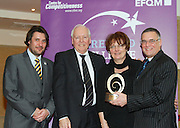 Matt Fisher COO, EFQM and Bob Barbour, director & chief executive Centre for Competitiveness present Eileen Tomson and Stephen Mathews of  the Cedar Foundation with their award at the EFQM Ireland Excellence Awards ceremony in association with Fáilte Ireland and the Centre for Competitiveness at the Galway Bay Hotel on Friday night. Photo:- Andrew Downes Photography / No Fee