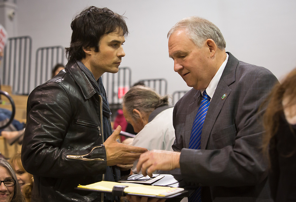 Nov. 12, 2014  Mandeville, LA, Ian Somerhalder with Abita Springs Mayor, Greg Lemons at   a permit hearing in St. Tammany Parish LA where he spoke out against fracking. <br /> Helis OIl applied for a drilling project for the first fracking project in St. Tammany Parish where Somerhalder is from. <br /> Born and raised in Covington LA, Somerhalder expressed his love or the area, and the need to protect the wetlands, where he says, fracking had no place.
