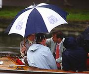 Henley, UNITED KINGDOM. Umbrellas at Henley left. HRH Princess Ann, right John PRICHARD  1988 Henley Royal Regatta, Henley Reach. [Mandatory Credit Peter Spurrier/Intersport Images]