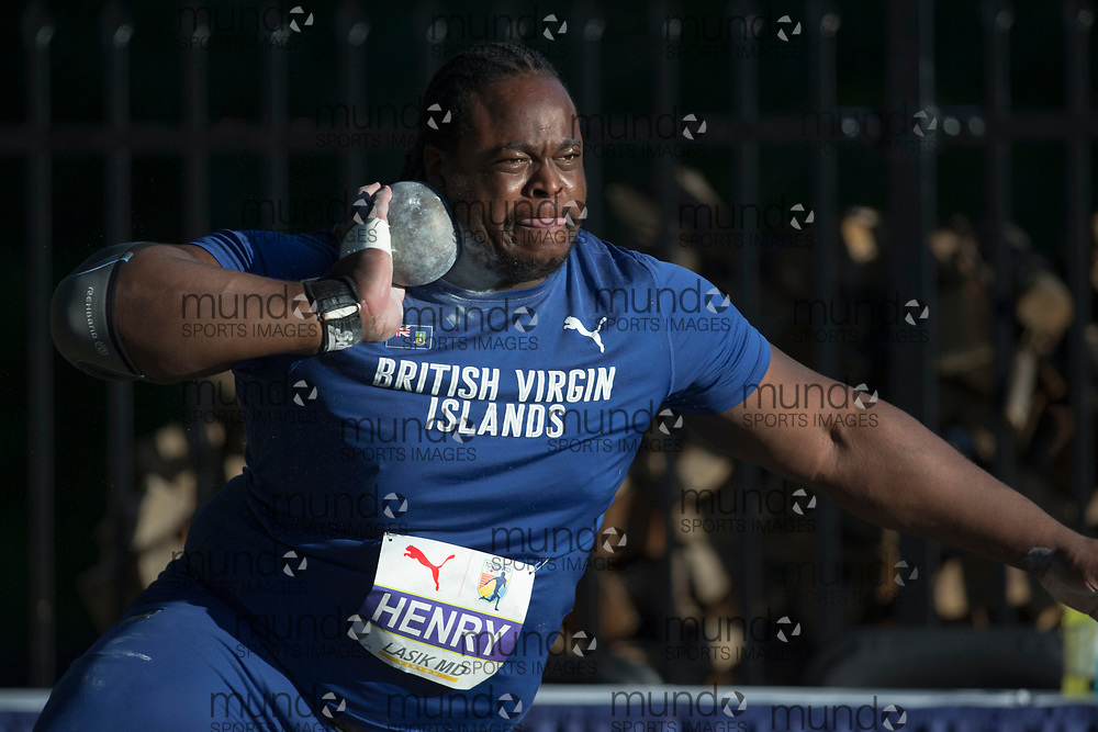 Toronto, ON -- 10 August 2018:  Eldred Henry (British Virgin Islands), shot put, at the 2018 North America, Central America, and Caribbean Athletics Association (NACAC) Track and Field Championships held at Varsity Stadium, Toronto, Canada. (Photo by Sean Burges / Mundo Sport Images).