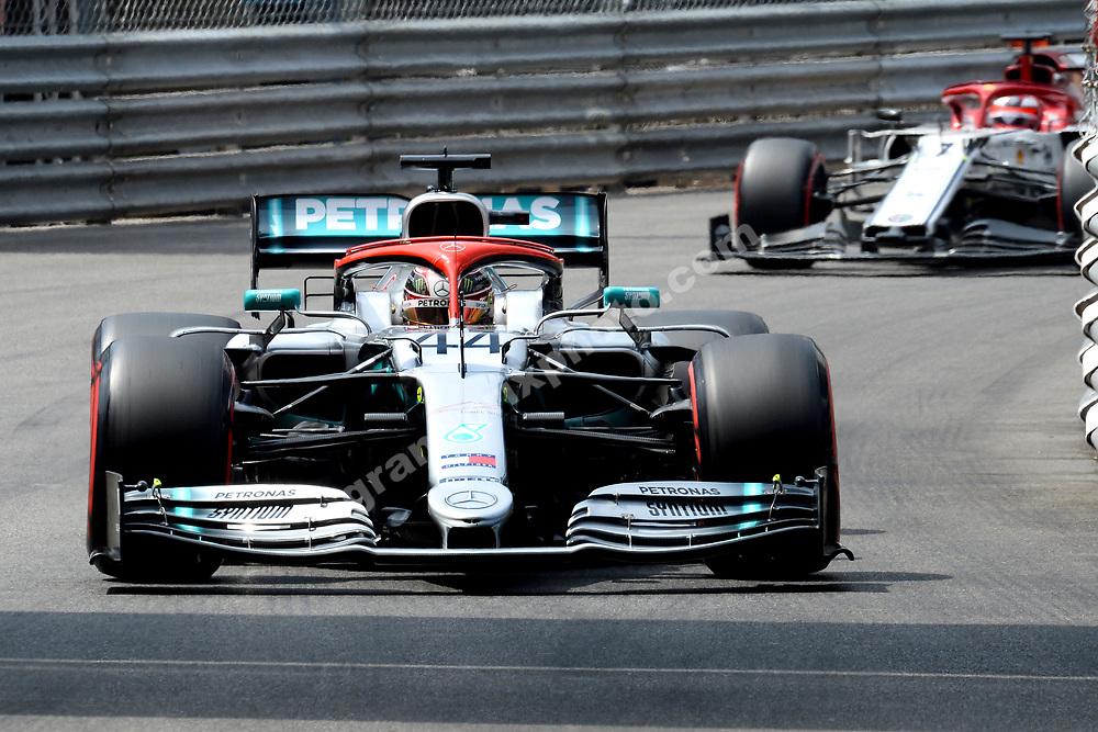 Lewis Hamilton (Mercedes) leading Kimi Raikkonen (Alfa Romeo-Ferrari) during qualifying for the 2019 Monaco Grand Prix. Photo: Grand Prix Photo