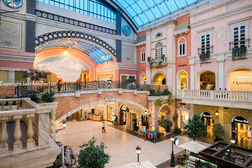 Italian Venetian themed Mercato shopping mall in Dubai United Arab Emirates