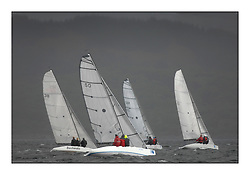 The Brewin Dolphin Scottish Series, Tarbert Loch Fyne...The RS Elite Fleet upwind in the grey conditions.