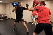 DALLAS, TX - MAY 13:  Stipe Miocic warms up in the locker room before fighting Junior dos Santos during UFC 211 at the American Airlines Center on May 13, 2017 in Dallas, Texas. (Photo by Cooper Neill/Zuffa LLC/Zuffa LLC via Getty Images) *** Local Caption *** Stipe Miocic
