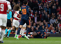 Football - 2018 / 2019 UEFA Europa League - Semi-Final, First Leg: Arsenal vs. Valencia CF<br /> <br /> Mouctar Diakhaby (Valencia) screams out in pain after being tackled at The Emirates.<br /> <br /> COLORSPORT/DANIEL BEARHAM