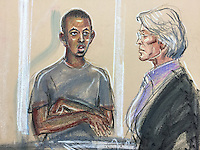 """Muhyadin Mire appears at Westminster Magistrates Court, in front of District Judge Purdey.<br /> Mire is accused of stabbing a passenger at Leytonstone Underground Station on Saturday 5th December whilst shouting """"This is for Syria"""""""