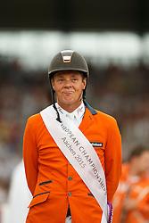 iIndividual podium, Dubbeldam Jeroen, (NED)<br /> Individual Final Competition round 2<br /> FEI European Championships - Aachen 2015<br /> © Hippo Foto - Dirk Caremans<br /> 23/08/15