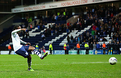 Daniel Johnson of Preston North End misses the final penalty to send Bournemouth through to the Fourth round - Mandatory byline: Matt McNulty/JMP - 07966386802 - 22/09/2015 - FOOTBALL - Deepdale Stadium -Preston,England - Preston North End v Bournemouth - Capital One Cup - Third Round