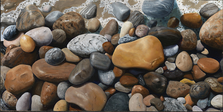 The popular Long Island surfing beach, Ditch Plains, is also lined with a variety of colorful rocks that glisten when wet.  This oil painting captures a wave washing over them, and bringing out their deep colors. <br /> SOLD.  Prints available upon request.