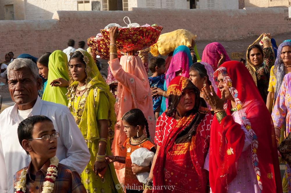 Busy street scene in Jodhpur, Rajasthan, India
