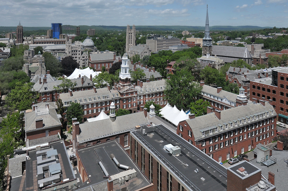 Timothy Dwight College and surrounding Architecture. From PWG to the left to Whitney Grove Center to the right. Yale University and New Haven CT. West Ridge in the Distance.<br /> Yale Reunion tents are set up and seen here in this photo.