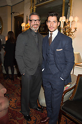 Left to right, DANIEL MARKS and DAVID GANDY at a cocktail reception hosted by the Woolmark Company, Pierre Lagrange and the Savile Row Bespoke Association to celebrate 'The Ambassador's Project' for London Collections Mens at Marks Club, Charles street, London on 8th January 2016.