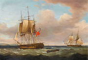 H.M.S. 'Pique', 40 guns, Captain C.H.B. Ross capturing the Spanish Brig 'Orquijo', 18 guns, 8th. February 1805. HMS. 'Pique', 36-guns, was built and launched as the French frigate 'Pallas' which was captured by a British squadron off the coast of France on 6th February 1800. Assimilated into the Royal Navy and renamed 'Pique', she rendered valuable service throughout the Napoleonic Wars and was finally scrapped in 1819. By Thomas Whitcombe (possibly 19 May 1763 – c. 1824) was a prominent British maritime painter of the Napoleonic Wars. Among his work are over 150 actions of the Royal Navy, and he exhibited at the Royal Academy, the British Institution and the Royal Society of British Artists. His pictures are highly sought after today.
