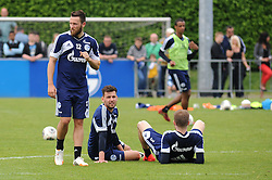 24.04.2014, Veltins Arena, Gelsenkirchen, GER, 1. FBL, Training Schalke 04, im Bild V.l.n.r. Marco Hoeger, Adam Szalai und Jan Kirchhoff ( alle Schalke 04 ) // during a Trainingsession of German Bundesliga Club Schalke 04 at the Veltins Arena in Gelsenkirchen, Germany on 2014/04/24. EXPA Pictures © 2014, PhotoCredit: EXPA/ Eibner-Pressefoto/ Thienel<br /> <br /> *****ATTENTION - OUT of GER*****