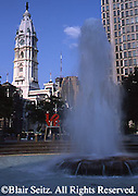 """Love"" sculpture, fountain and City Hall, Philadelphia, PA"