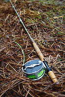 Detail of spey rod and reel.
