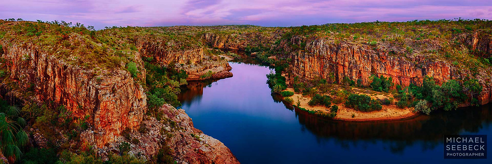A panoramic photograph of Katherine Gorge taken in early dawn twilight.<br /> <br /> Code: HATD0014<br /> <br /> Limited Edition of 125