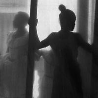 "Central America, Cuba, Santa Clara. Dancers ""backstage behind sheer curtain."