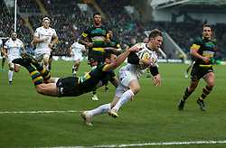 Exeter Chiefs' Will Chudley scores their first try during the Aviva Premiership match at Franklin's Gardens, Northampton.