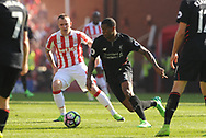 Liverpool's Georgina Wijnaldum  in action. Premier league match, Stoke City v Liverpool at the Bet365 Stadium in Stoke on Trent, Staffs on Saturday 8th April 2017.<br /> pic by Bradley Collyer, Andrew Orchard sports photography.
