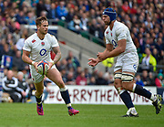 England fly-half Danny Cipriani (Sale Sharks)  dummies a pass to England No.8 Josh Beaumont (Sale Sharks)during the International Rugby Union match England XV -V- Barbarians at Twickenham Stadium, London, Greater London, England on May  31  2015. (Steve Flynn/Image of Sport)